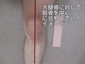 大腿骨に対して脛骨を中心に合わしていくイメージ