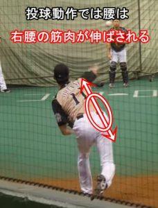 大谷翔平野球投球動作では腰は右が伸びる