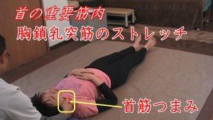 坐骨神経痛と首は関係あるのでしょうか?ズバリあります!間接的な要因になりますが、首のカーブが無くなるストレートネックだと、頭の位置が前方へ変位してしまい、おもりを垂らした釣り竿みたいに背中が丸くなり、腰が反り骨盤が歪み片方の足の負担が増します。アンバランスな筋肉の使われ方が神経を圧迫して、腰痛や坐骨神経痛を引き起こしてしまいます。首の骨を一本一本後ろから指先で持ち上げて、動き肉用なら首筋の重要な筋肉である胸鎖乳突筋をストレッチで伸ばします。この胸鎖乳突筋は自律神経にも関係深いので、ストレス対策にもなります。当院では、親指と人差し指でグリップしてつまむように伸ばしストレッチするので、首筋つまみとネーミングしています。