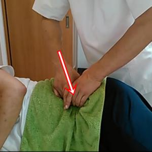 横向きになって骨盤をほぐします。骨盤の内側の筋肉である腸骨筋を刺激。足の痺れなどにも良く効きます。