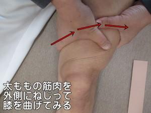 太ももの筋肉を外側にねじって膝を曲げてみる