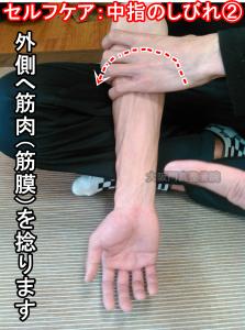 ②肘の筋肉を外側へ捻る