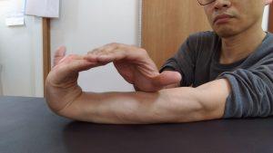 四指を上向きに反らし前腕につけるイメージ