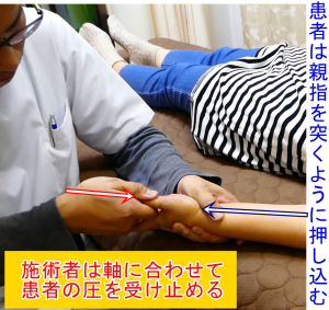 シビレの調整で親指を押し込んでもらい軸圧に沿って受け止める