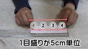 キネシオテープ1目盛りが5cm単位